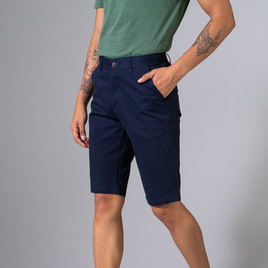 Indigo Rain Midnight Blue Cotton Lycra Stretch Shorts