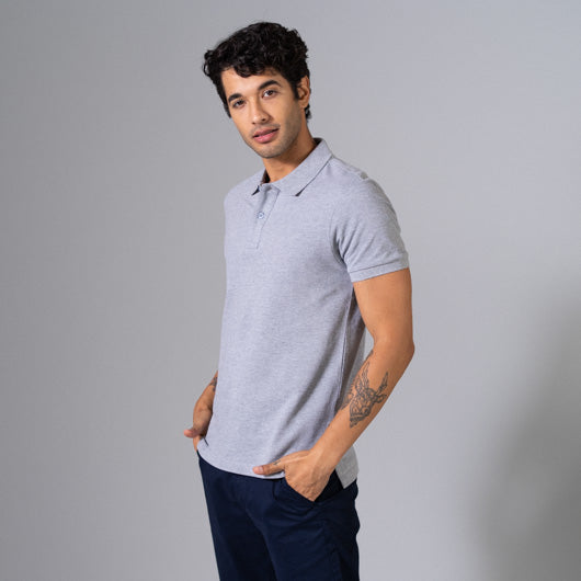 Smokey Trail Light Grey Cotton Polo T-Shirt