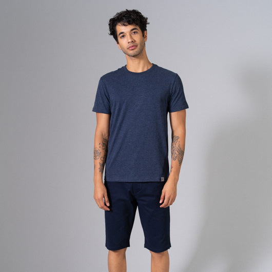 AEGEAN SEA NAVY BLUE ROUND NECK T-SHIRT