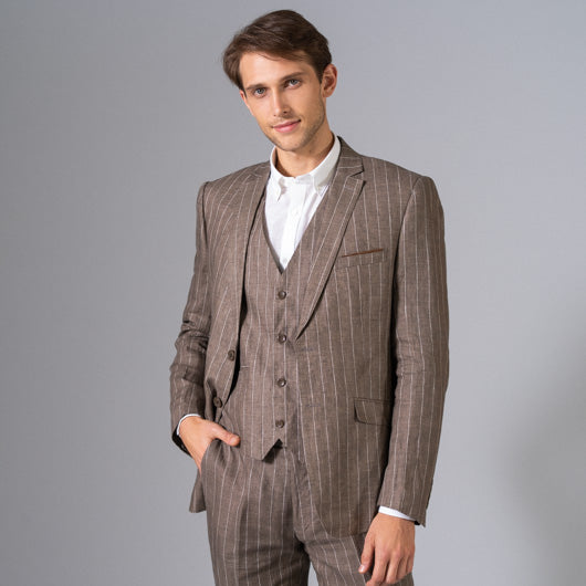 Sand Dune Light Brown Pinstriped Suit