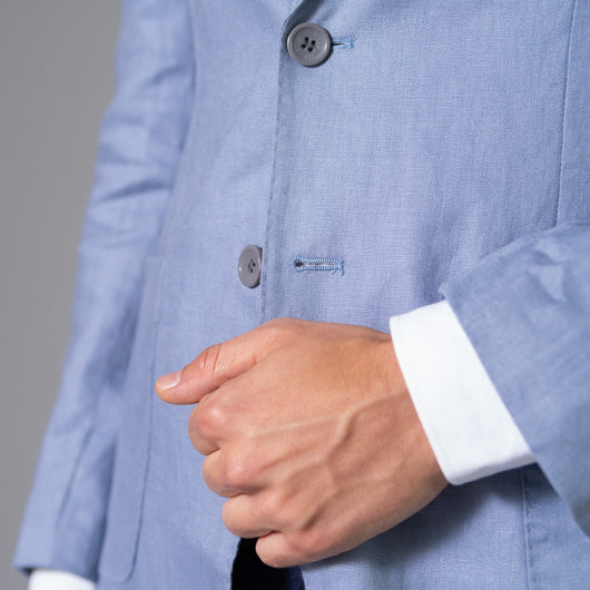 Balmy Breeze Powder Blue Linen Blazer