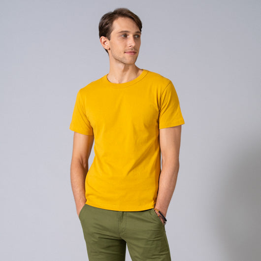 YELLOW OCHRE MUSTARD YELLOW ROUND NECK T-SHIRT