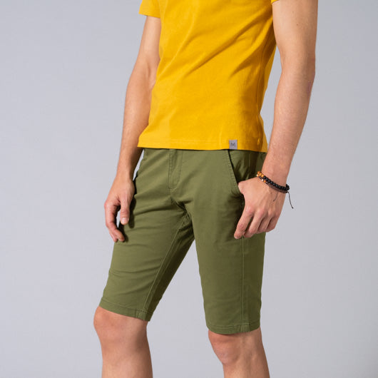 Juniper Forest Green Cotton Lycra Stretch Shorts