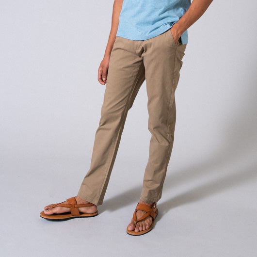Tawny Birch Beige Cotton Lycra Stretch Chinos