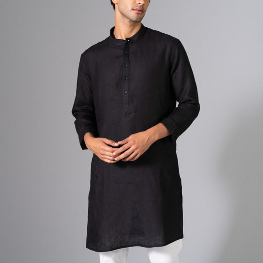 Shade Black Linen Kurta
