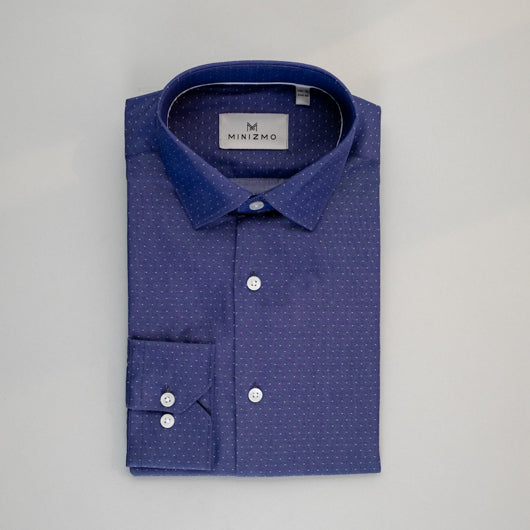 Mid Blue Dotted Cotton Shirt