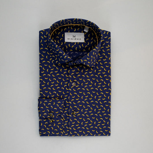 Persian Blue Banana Printed Cotton Shirt