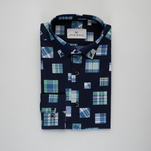 Blocked Blue Cotton Shirt