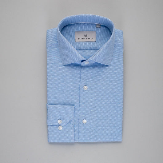 Pinpointed Blue Cotton Shirt
