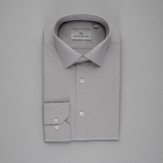Solid Grey Cotton Shirt