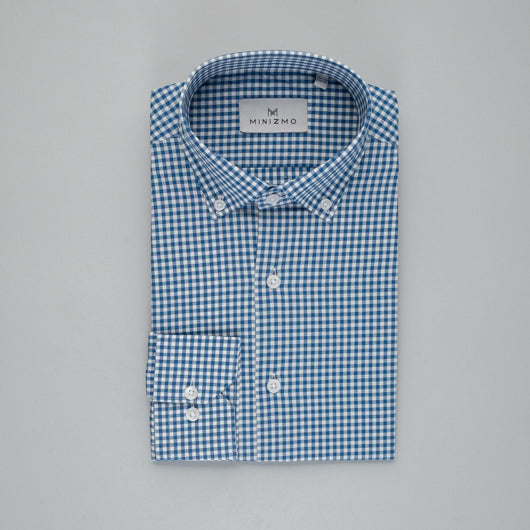 Windowpane Checked Cotton Shirt