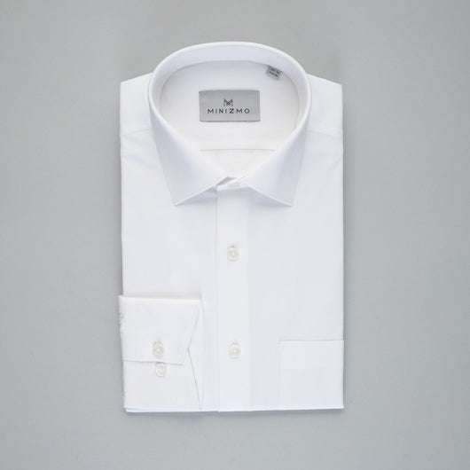 Herringbone White Cotton Shirt