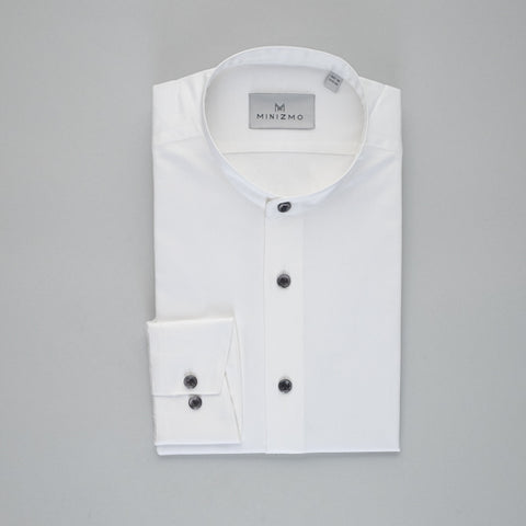 Classic Band Collar Cotton Shirt