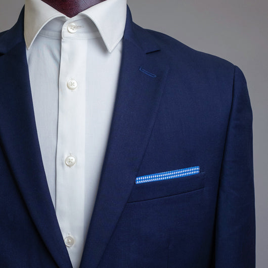 Navy Checks Pocket Square