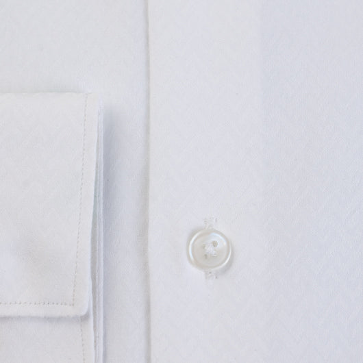 Jacquard White Cotton Shirt