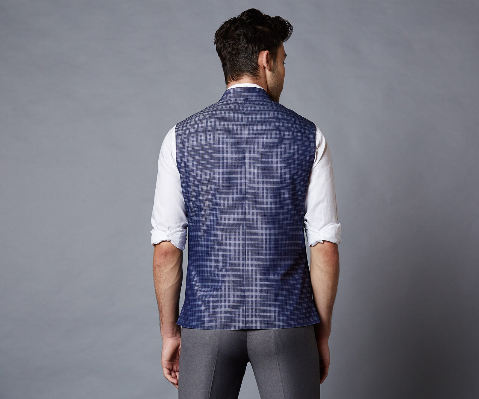 Frozen Blue Check Nehru Jacket