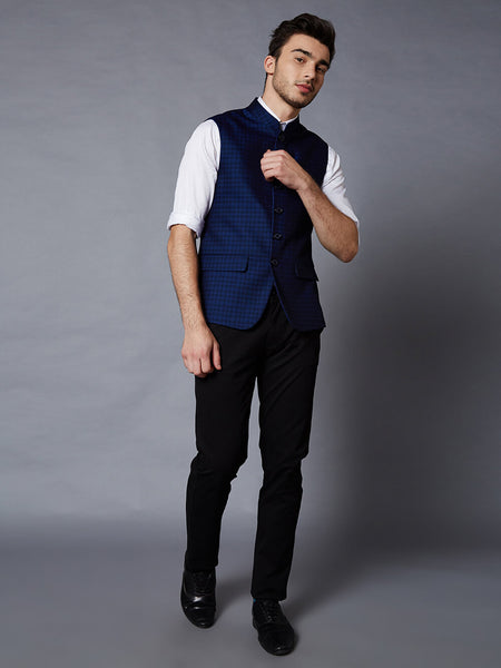 Midnight Blue Nehru Jacket