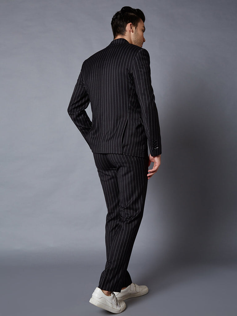 Exeter 2 piece black and white pinstripe suit