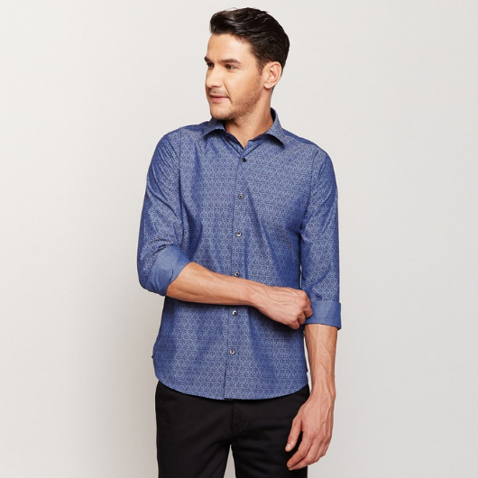 Indigo Block Printed Shirt