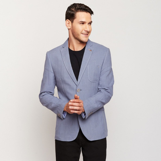 Light Blue Checks Linen Blazer