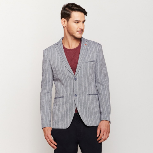 Grey Double Stripes Linen Blazer