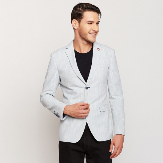 Ice Blue Linen Blazer