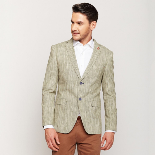 Green Stripes Linen Blazer