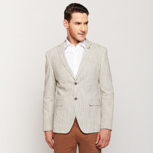 Two Toned Light Grey Linen Blazer