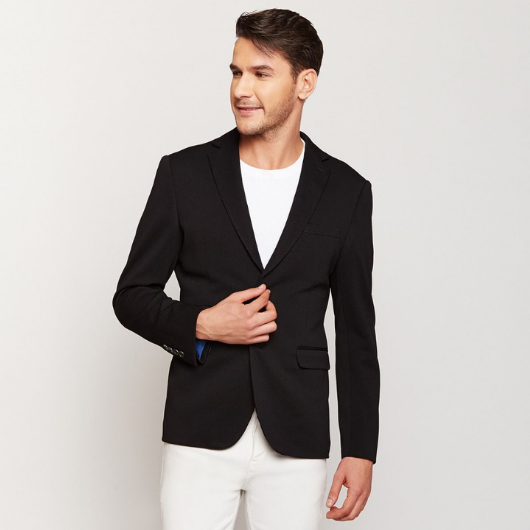 Midnight Blue Knit Blazer
