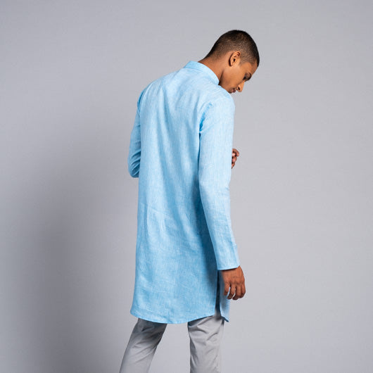Endless Horizon Light Blue Linen Kurta