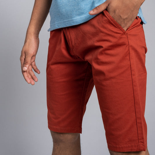 Terra Cotta Orange Red Cotton Lycra Stretch Shorts