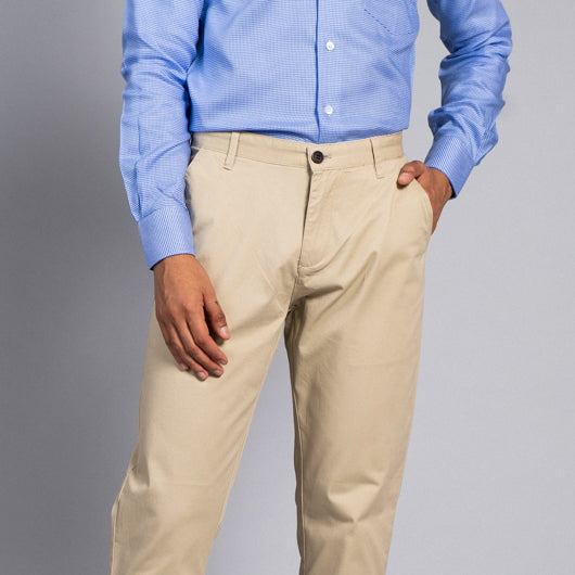Calm Camel Light Beige Cotton Lycra Stretch Chinos
