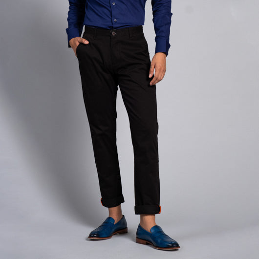 Jet-Set Black Cotton Lycra Stretch Chinos