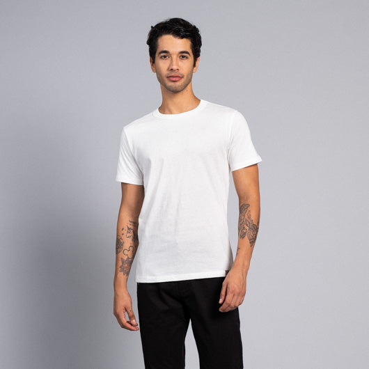 Cloudy Days Off-White Round Neck T-Shirt, S