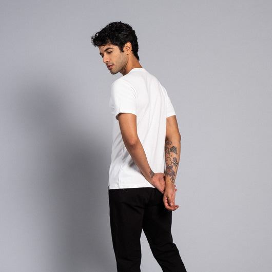CLOUDY DAYS OFF-WHITE ROUND NECK T-SHIRT