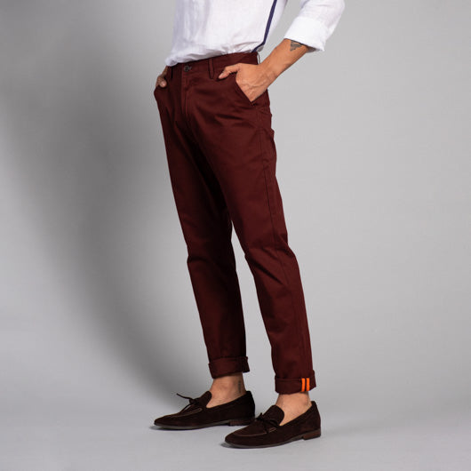 Mahogany Timber Burgundy Cotton Chinos