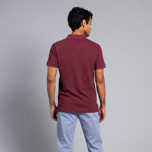 Merlot Evenings Maroon Cotton Polo T-Shirt