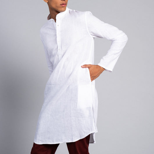 Cloud Watcher White Linen Kurta