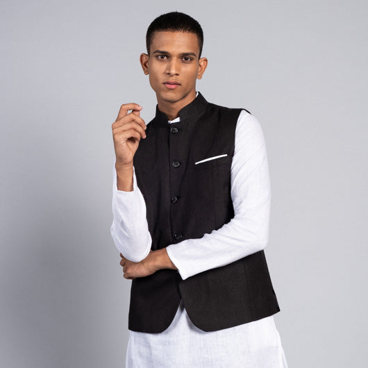 Midnight Dream Black Linen Nehru Jacket