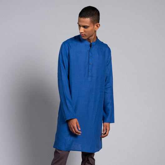 Star Gazer Blue Linen Kurta