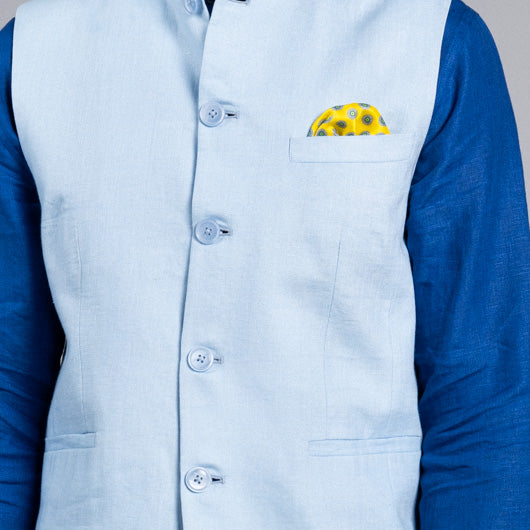 Haven Light Blue Linen Nehru Jacket