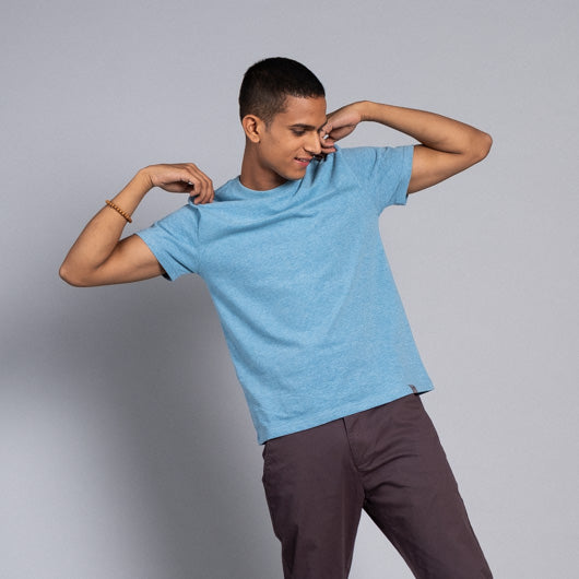 ICEBERG BLUES POWDER BLUE ROUND NECK T-SHIRT