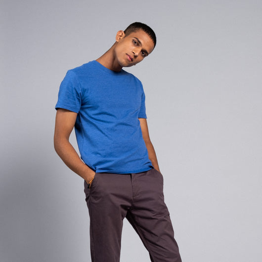 COBALT BLUE ELECTRIC BLUE ROUND NECK T-SHIRT
