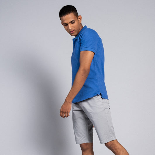 Lapis Lazuli Bright Blue Cotton Polo T-Shirt