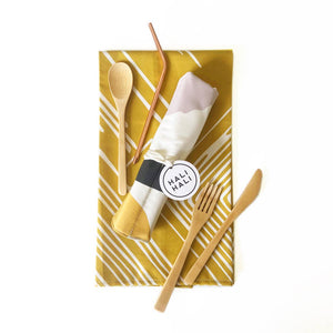 Hali Hali: Bamboo Cutlery and Tea Towel Picnic Set- Sunbeams