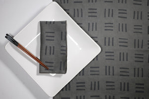 Willow Ship: Charcoal Grid Dinner Napkins (set of 2)