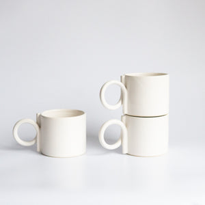I and You Ceramics: White Loop Handle Mug (Barcelona Artist)