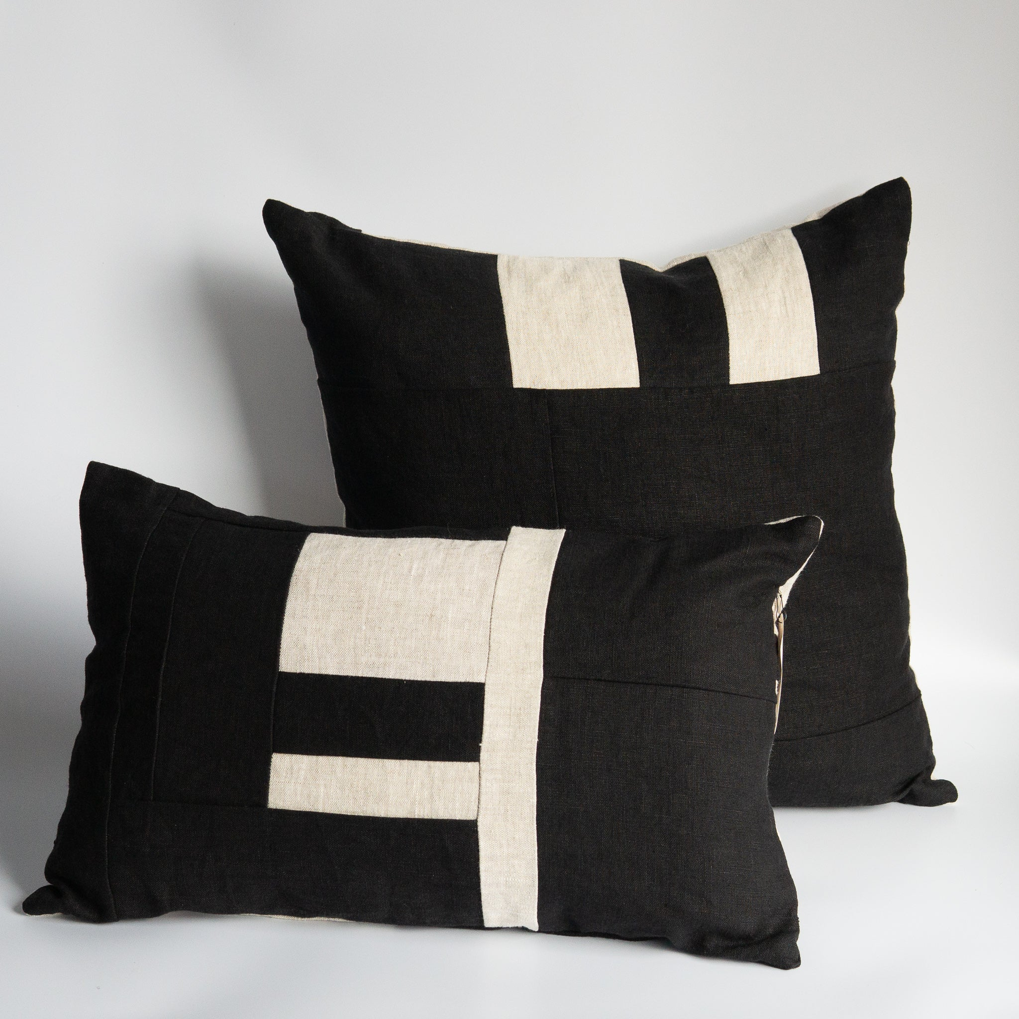 Mallow Soft Goods: Reversible Black/Flax Linen Pillows