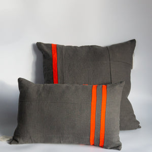 Mallow Soft Goods: Slate/Poppy Linen Pillows