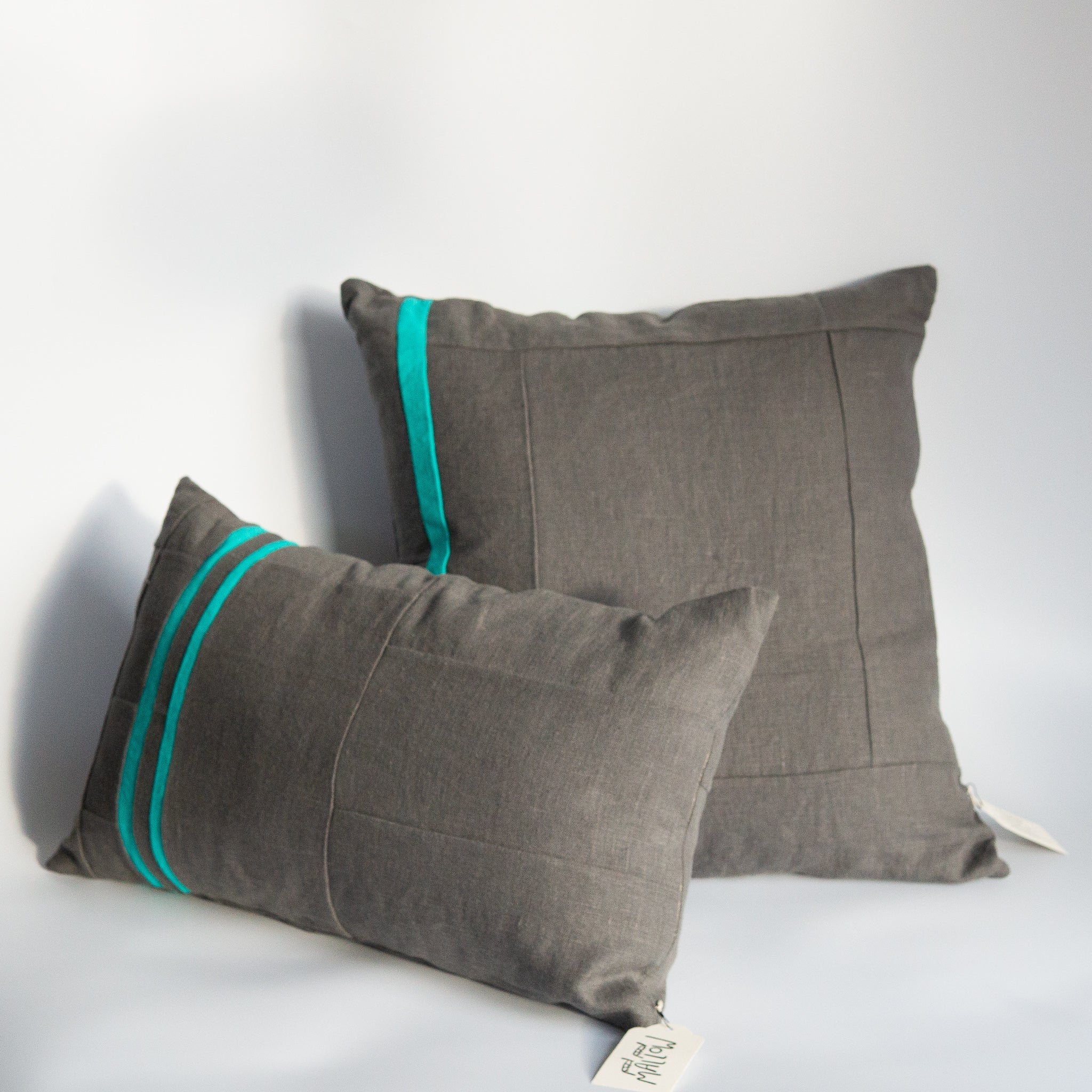 Mallow Soft Goods: Slate/Teal Linen Pillows